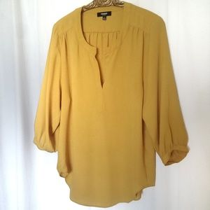 Premise mustard blouse,pop over 3/4 sleeved, S